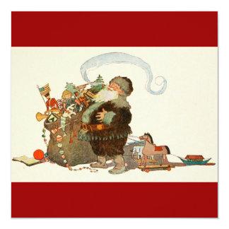 Duende de Santa del vintage con el tubo y el saco Invitación 13,3 Cm X 13,3cm