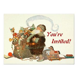 Duende de Santa del vintage con el tubo y el saco Invitación 12,7 X 17,8 Cm