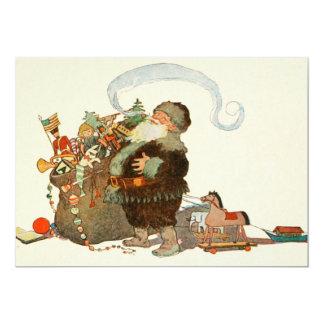 """Duende de Santa del vintage con el tubo y el saco Invitación 5"""" X 7"""""""