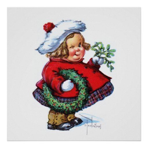 Duende de Santas con la guirnalda Posters