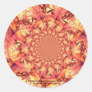 Duende de Sun del caleidoscopio Pegatina Redonda