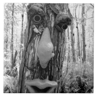 Duende del árbol en un árbol de Cypress grande Azulejo Cuadrado Grande