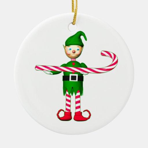 Duende del bastón de caramelo del navidad adorno navideño redondo de cerámica