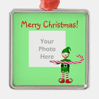 Duende del bastón de caramelo del navidad (marco adorno navideño cuadrado de metal