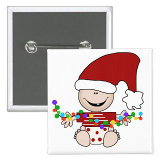 Duende del bebé con las camisetas y los regalos de pin cuadrada 5 cm