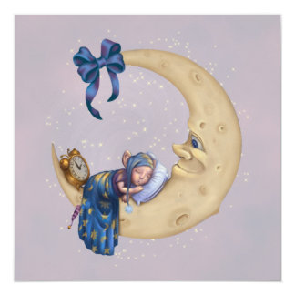 """Duende del bebé de la luna invitación 5.25"""" x 5.25"""""""