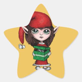 Duende del navidad con el presente vivo calcomania forma de estrella