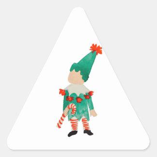 Duende del navidad del niño del niño de diciembre pegatina triangular