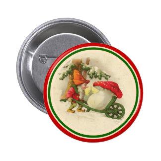 Duende del navidad del vintage con la seta pin redondo de 2 pulgadas
