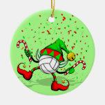 Duende del navidad del voleibol del baile adorno navideño redondo de cerámica