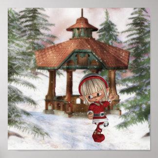 Duende del navidad en el poster de Polo Norte