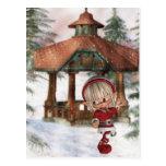 Duende del navidad en la postal de Polo Norte