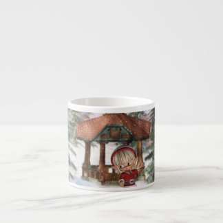 Duende del navidad en la taza de la especialidad d tazita espresso