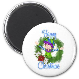 Duende del navidad imán redondo 5 cm