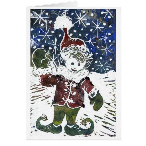 Duende del navidad - impresión de bloque en color tarjetón
