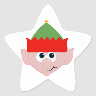 Duende del navidad calcomania forma de estrella