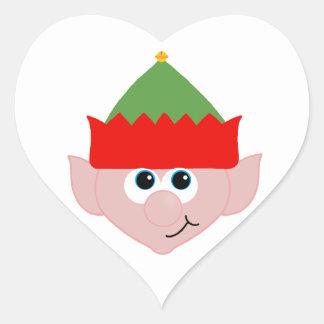 Duende del navidad pegatina en forma de corazón