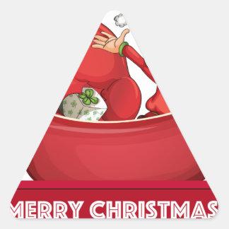 Duende del navidad pegatina triangular