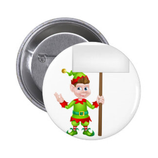 Duende del navidad que lleva a cabo la muestra pin redondo 5 cm