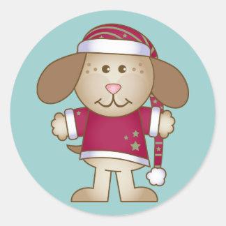 Duende del perrito del navidad etiquetas redondas