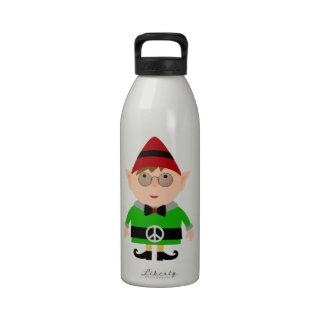 Duende del signo de la paz del navidad del hippy botella de agua reutilizable