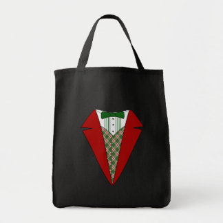 Duende del smoking del navidad, rojo y verde bolsa tela para la compra