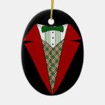 Duende del smoking del navidad, rojo y verde adorno de navidad