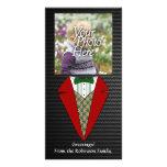 Duende del smoking del navidad, rojo y verde tarjeta fotografica personalizada