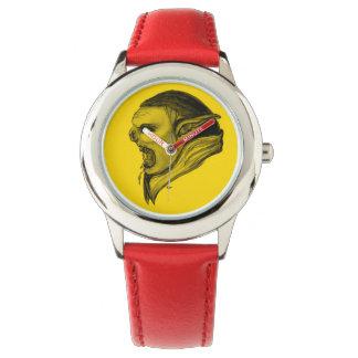 Duende - diseño del negro y del amarillo reloj de mano