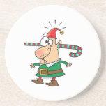 duende divertido de santa con el bastón de caramel posavasos para bebidas