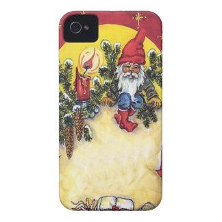 Duende en el árbol de navidad Case-Mate iPhone 4 protectores