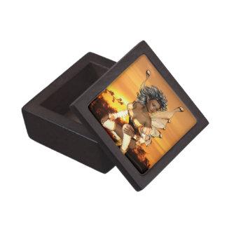 Duende en la caja de regalo superior de la oscurid cajas de joyas de calidad
