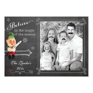 Duende en tarjeta de la foto del día de fiesta del invitacion personal