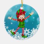 Duende feliz del navidad - SRF Adorno Redondo De Cerámica