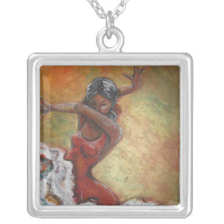 Duende Flamenco Dancer Silver Plated Necklace