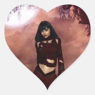 Duende gótico pegatina en forma de corazón