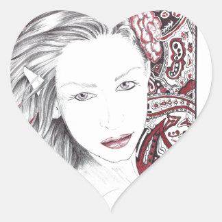 Duende hermoso de la hembra de Paisley Pegatina En Forma De Corazón