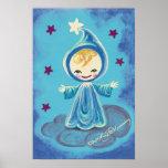 Duende Kiddo en una nube con las estrellas Poster