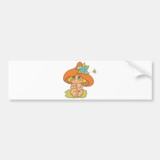 duende lindo del gnomo de la seta etiqueta de parachoque