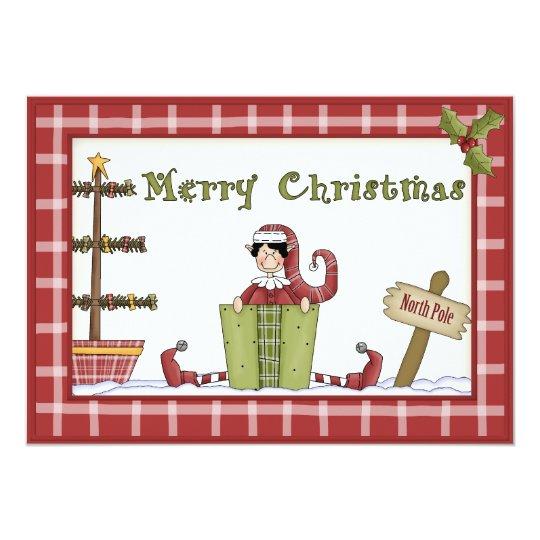 Duende lindo del navidad con la actual invitación