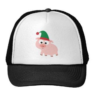 Duende lindo del navidad del cerdo gorros bordados
