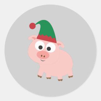 Duende lindo del navidad del cerdo pegatinas redondas
