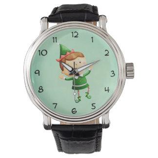 Duende lindo del navidad relojes de pulsera