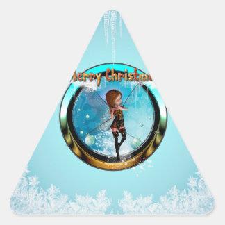 Duende lindo que juega para el navidad pegatina triangular