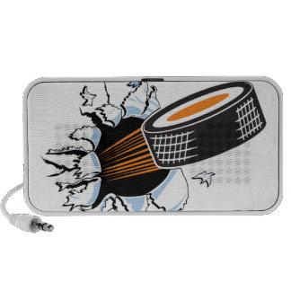 Duende malicioso de hockey notebook altavoces