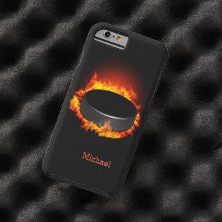 Duende malicioso de hockey ardiente funda de iPhone 6 tough