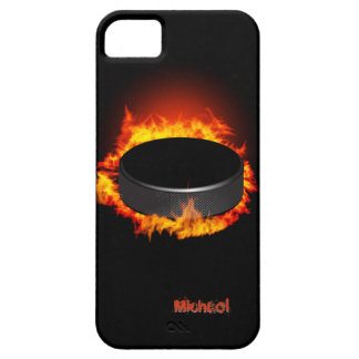 Duende malicioso de hockey ardiente funda para iPhone 5 barely there