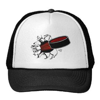 Duende malicioso de hockey gorras de camionero