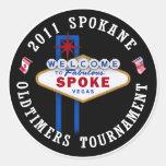 Duende malicioso de los Oldtimers de Spokane Etiquetas Redondas