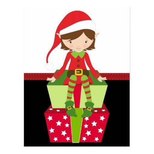 Duende retro del navidad tarjetas postales